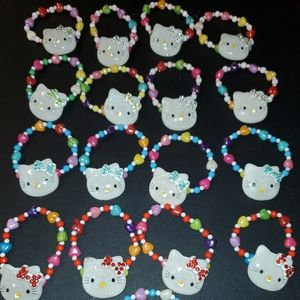 17 Pc Rhinestone Hello Kitty Handmade Bracelets B1